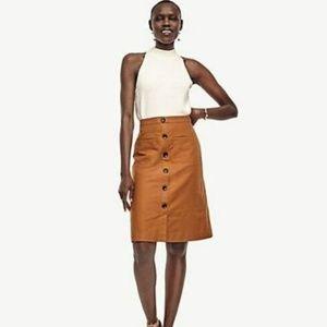 Ann Taylor Petite Linen Button A Line Skirt